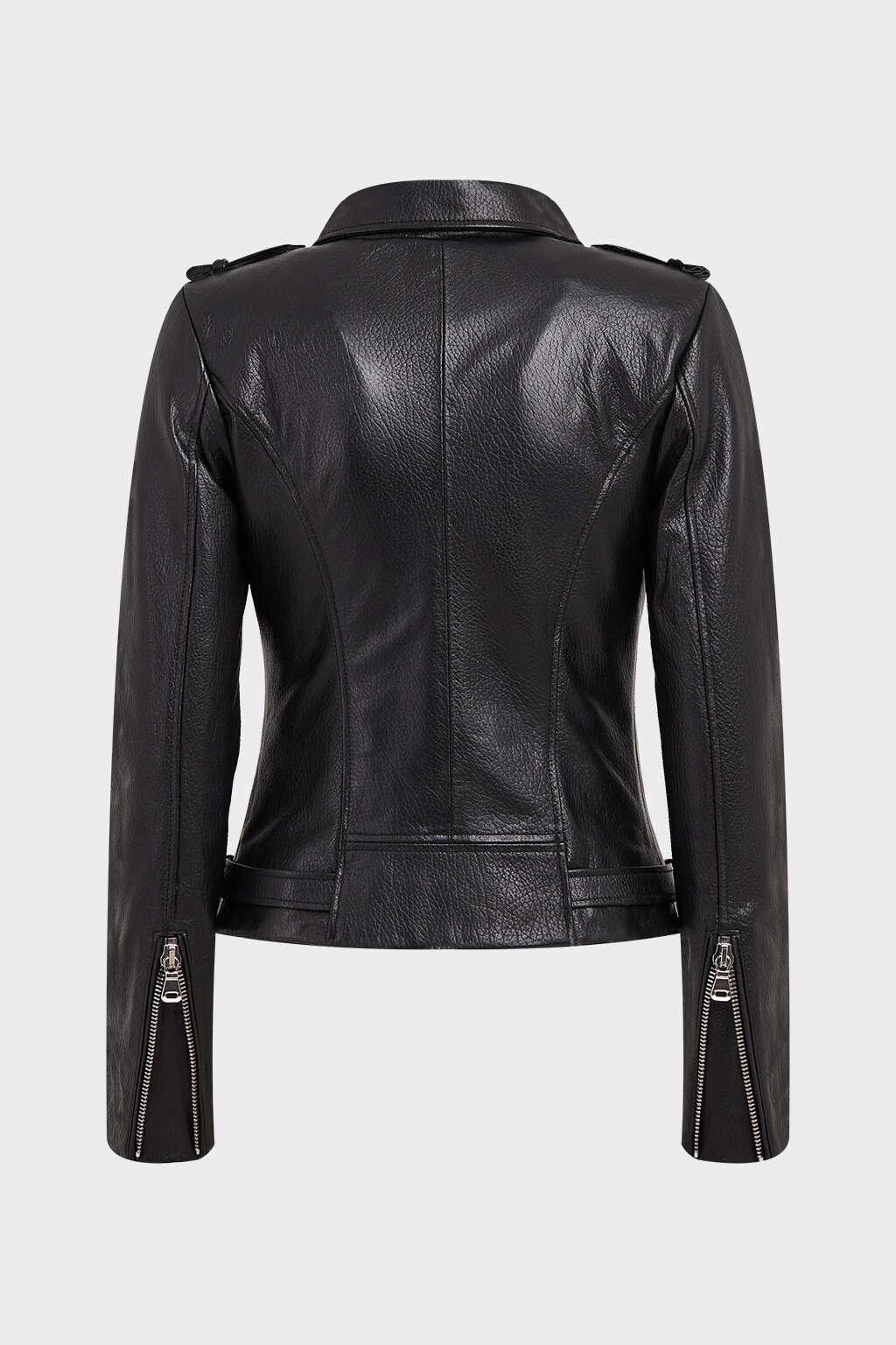 Back of Black Collared Biker Leather Jacket