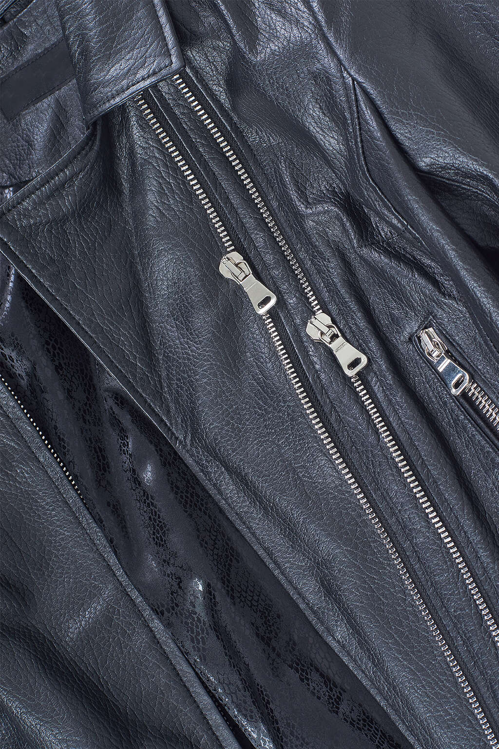 Zipper and Inner Lining Detail of Black Collared Biker Leather Jacket