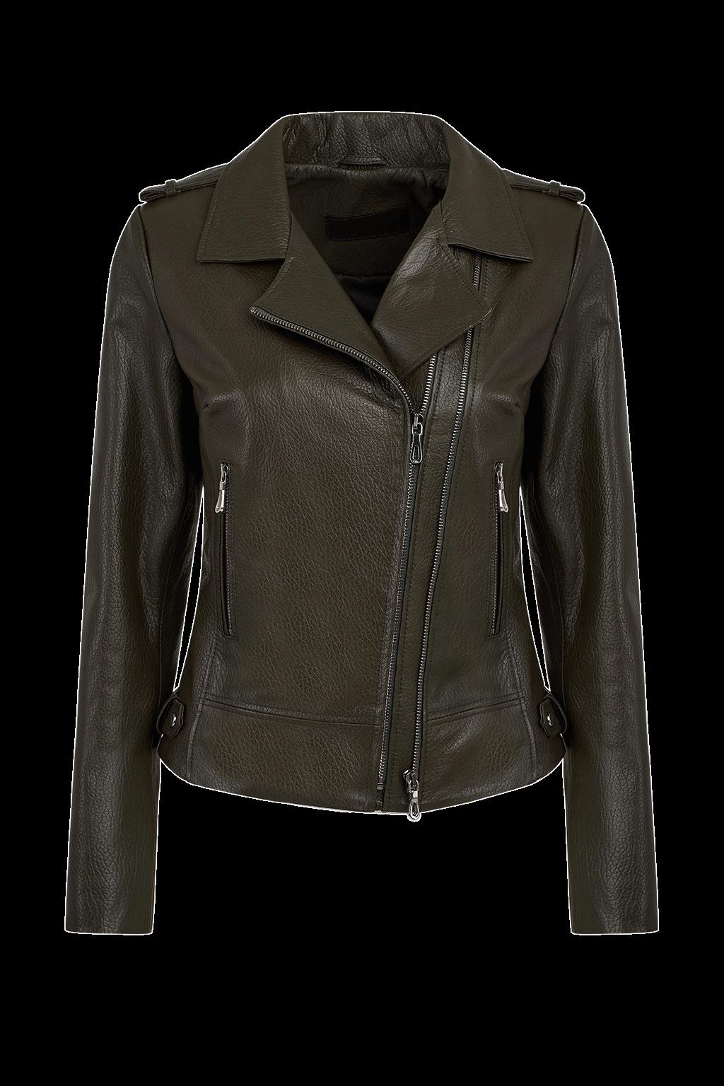 Women's Leather Biker Jacket - Olive Green