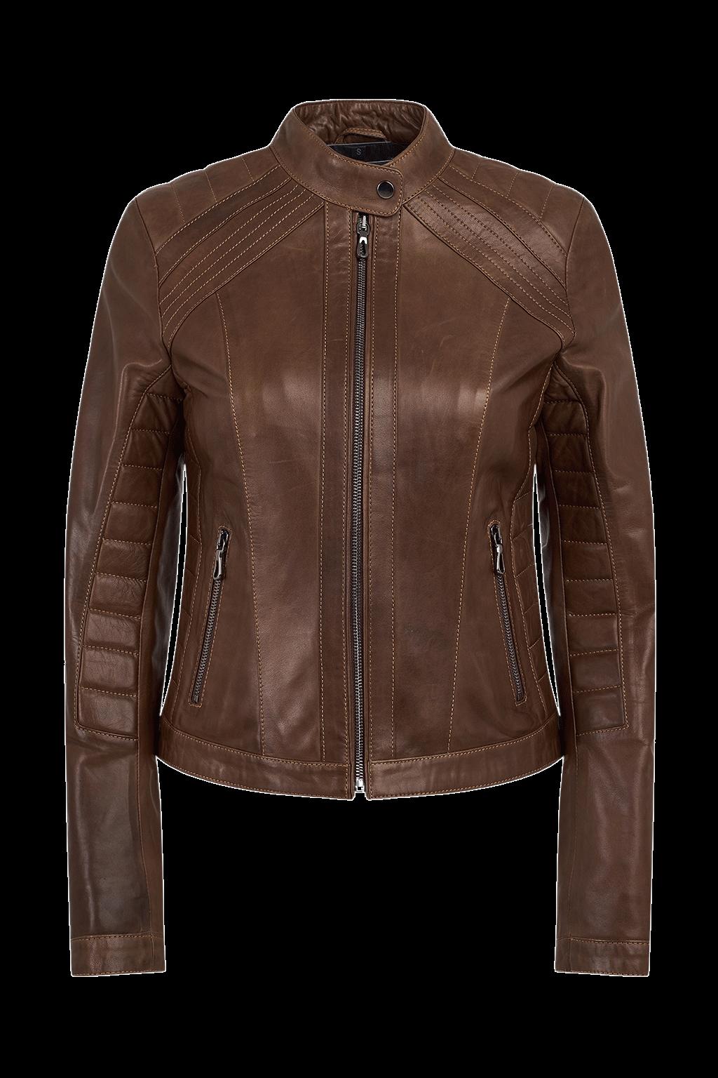 Ribbed Racer Leather Jacket
