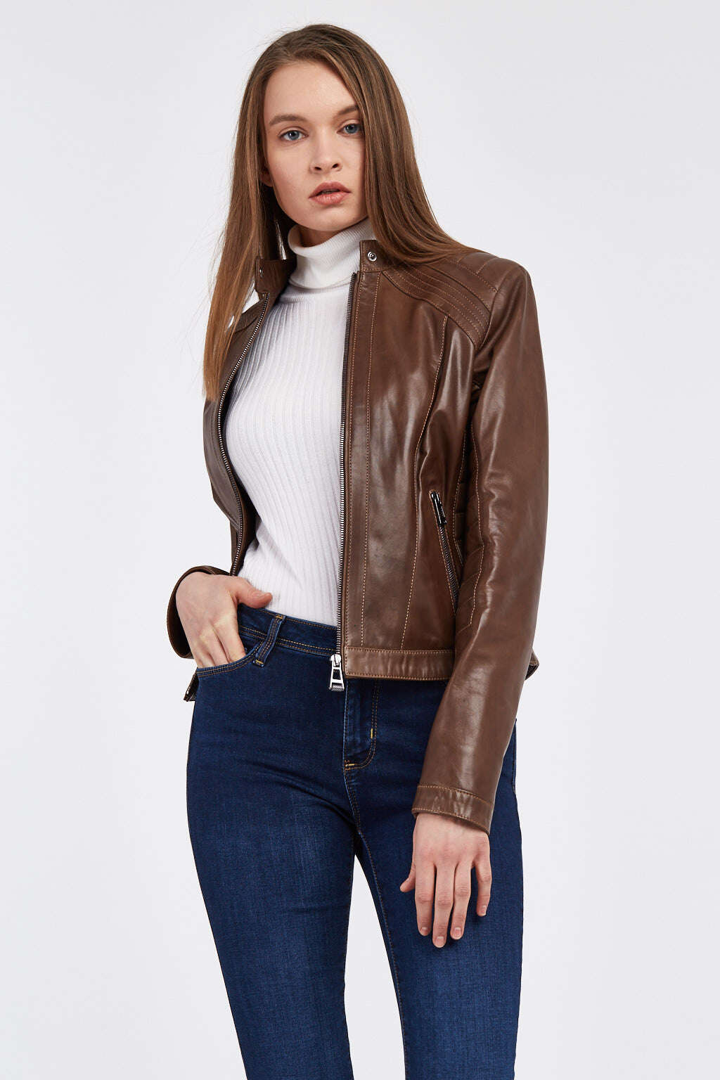 Woman Wearing Opened Zip Hickory Brown Ribbed Racer Leather Jacket