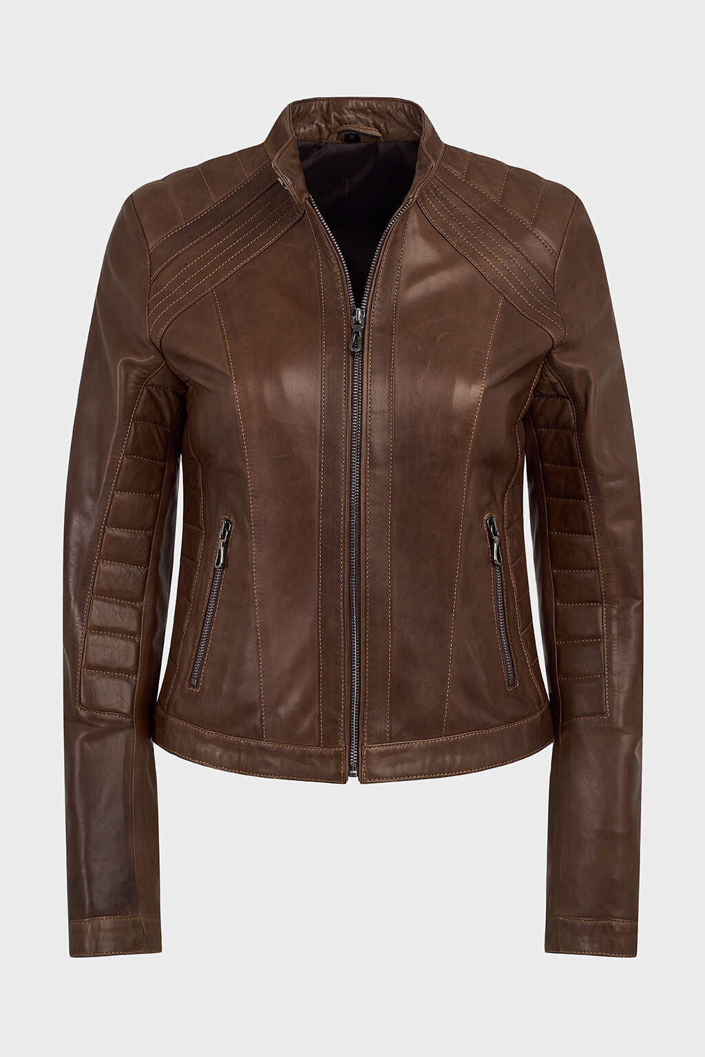 Front of Hickory Brown Ribbed Racer Leather Jacket