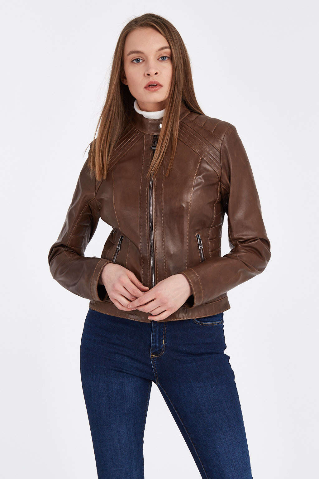 Woman Wearing Zipped Up Hickory Brown Ribbed Racer Leather Jacket