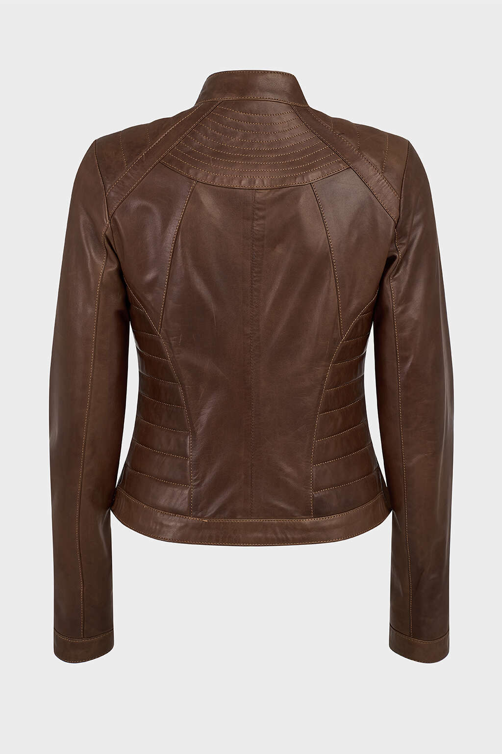 Back of Hickory Brown Ribbed Racer Leather Jacket