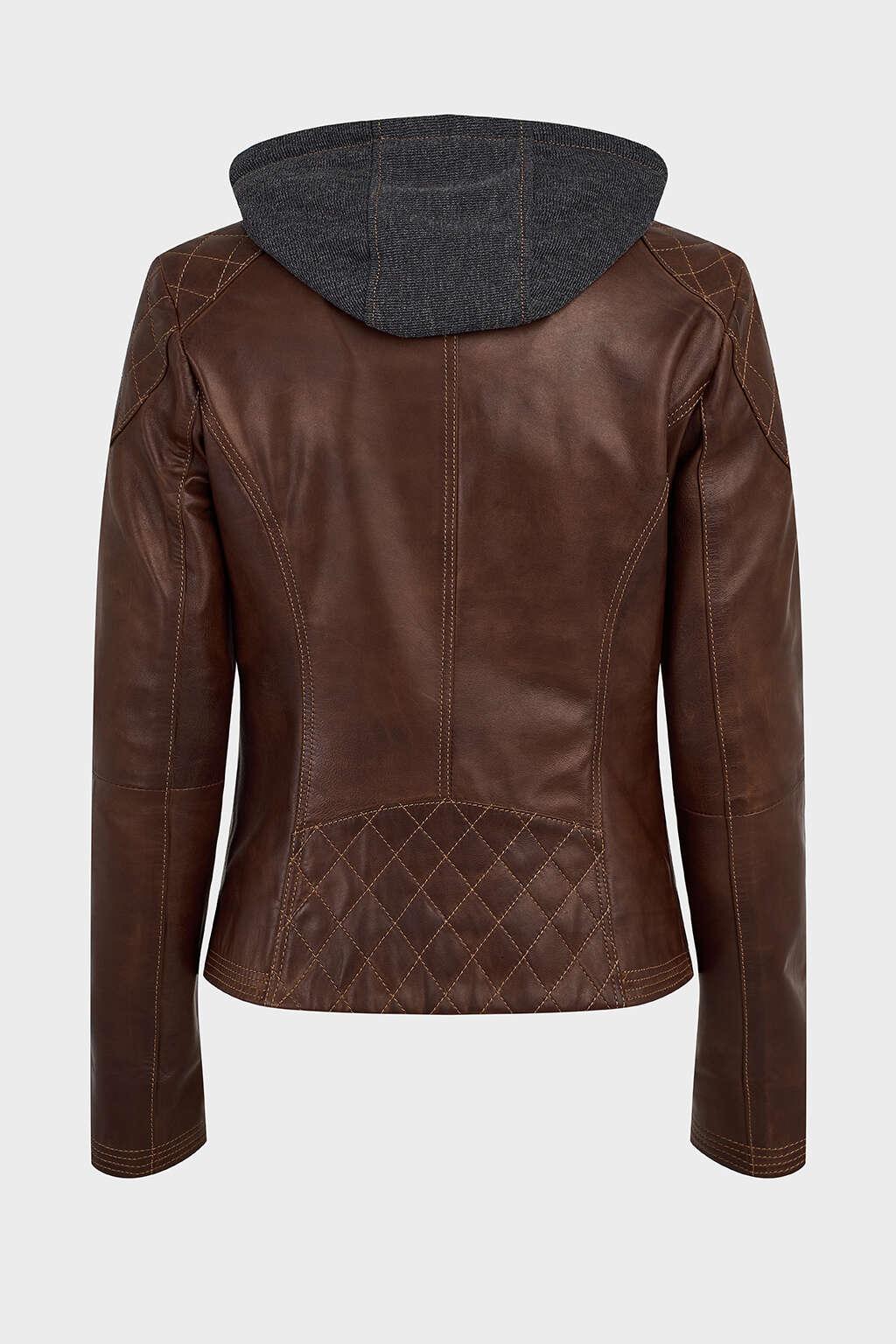 Back of Pecan Cotton Hood Leather Jacket