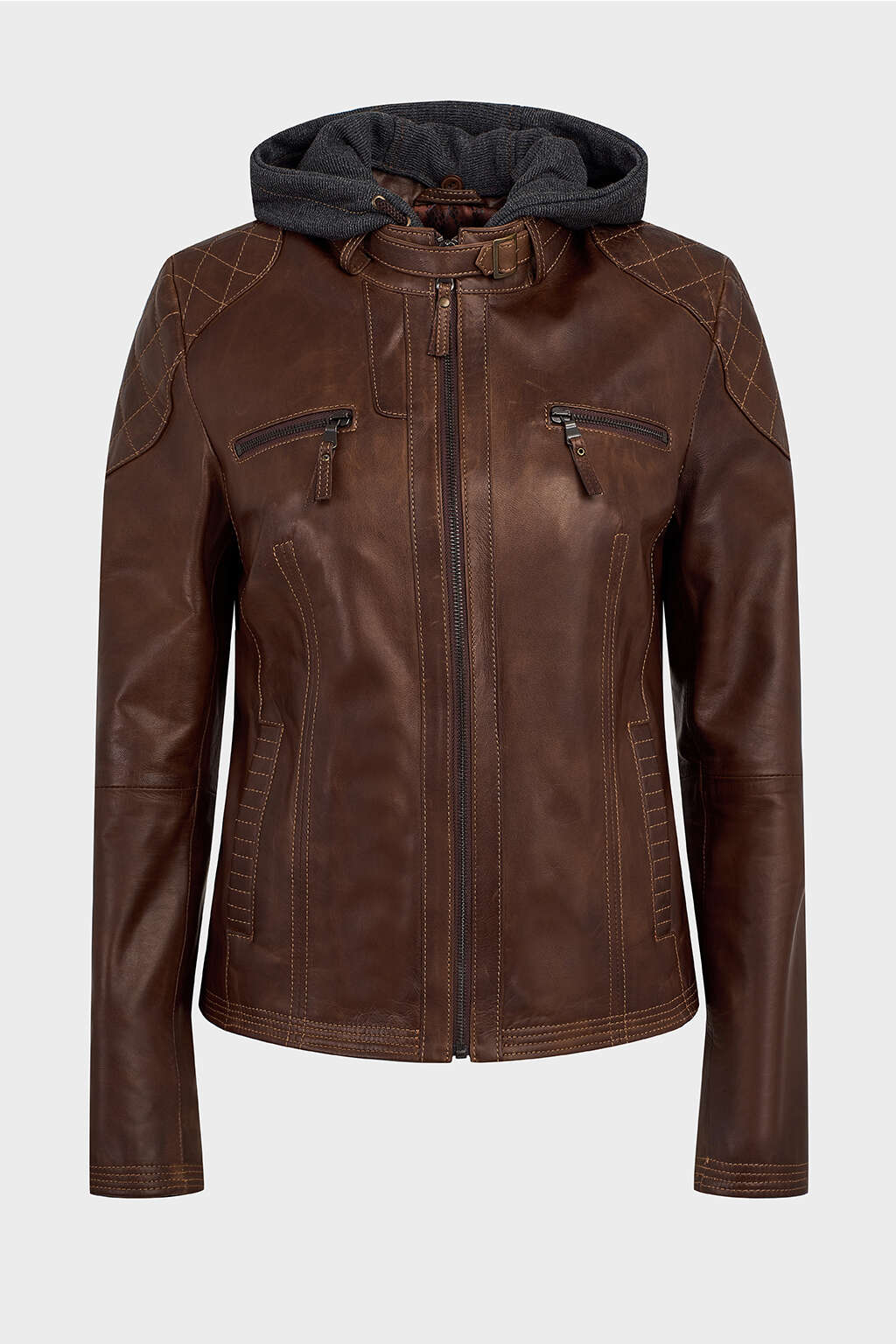 Front of Pecan Cotton Hood Leather Jacket