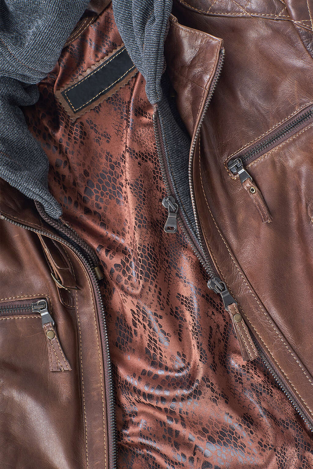 Zipper and Inner Lining Detail of Pecan Cotton Hood Leather Jacket