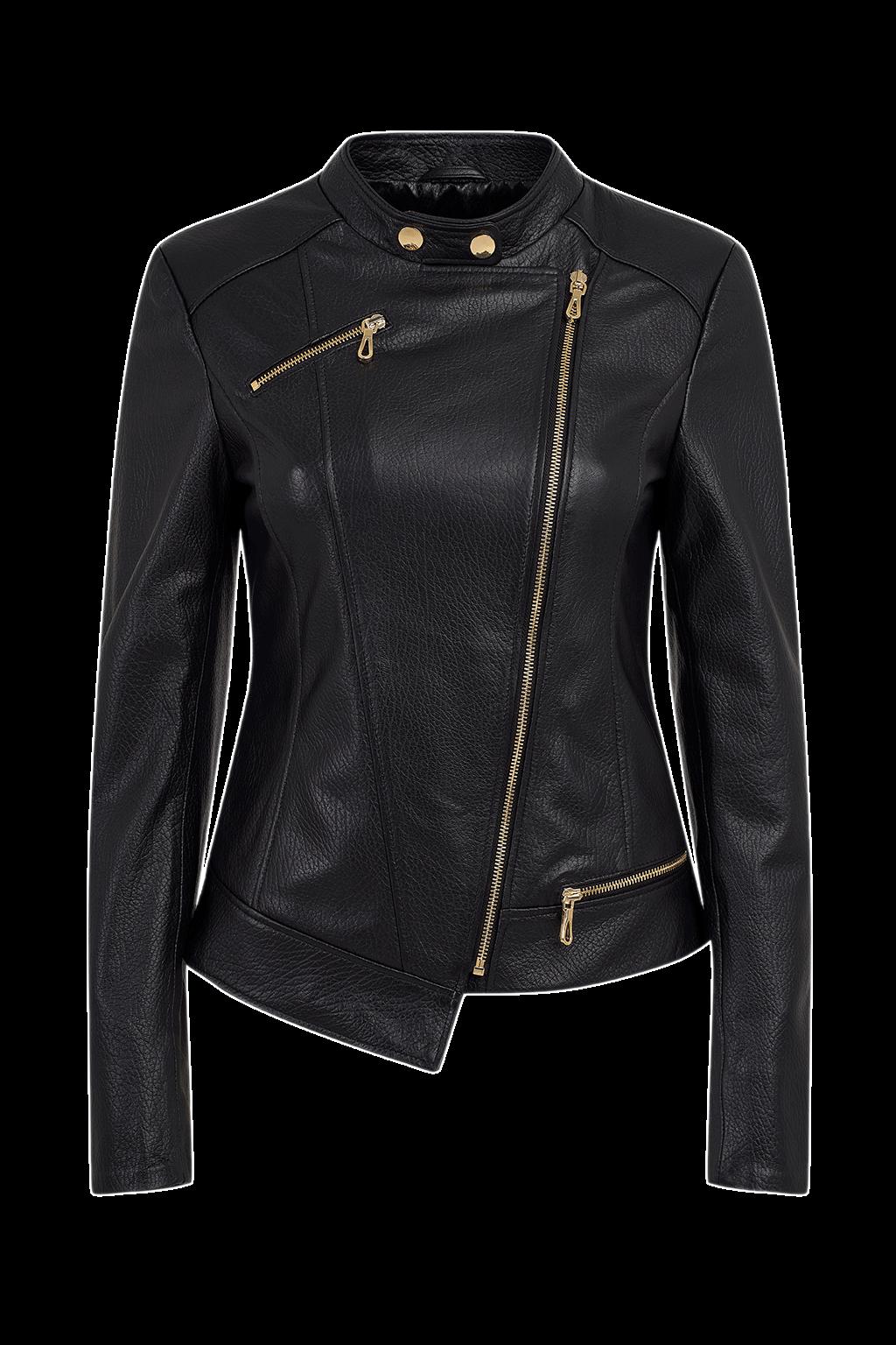 Women's Asymmetric Leather Jacket - Black