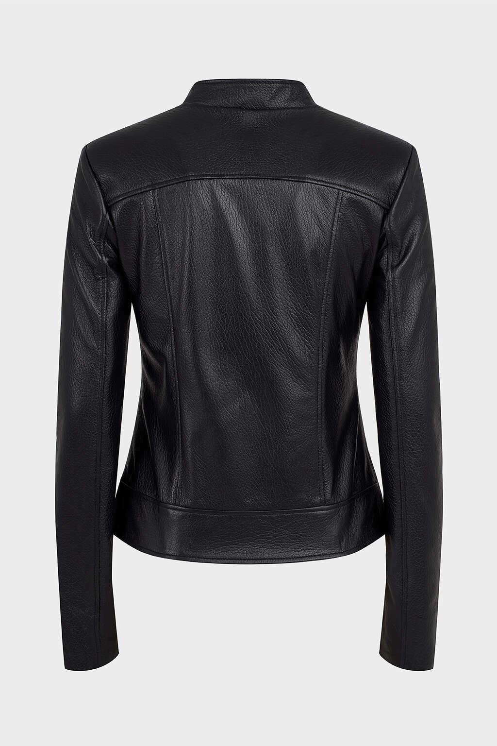 Back of Black Asymmetrical Biker Leather Jacket