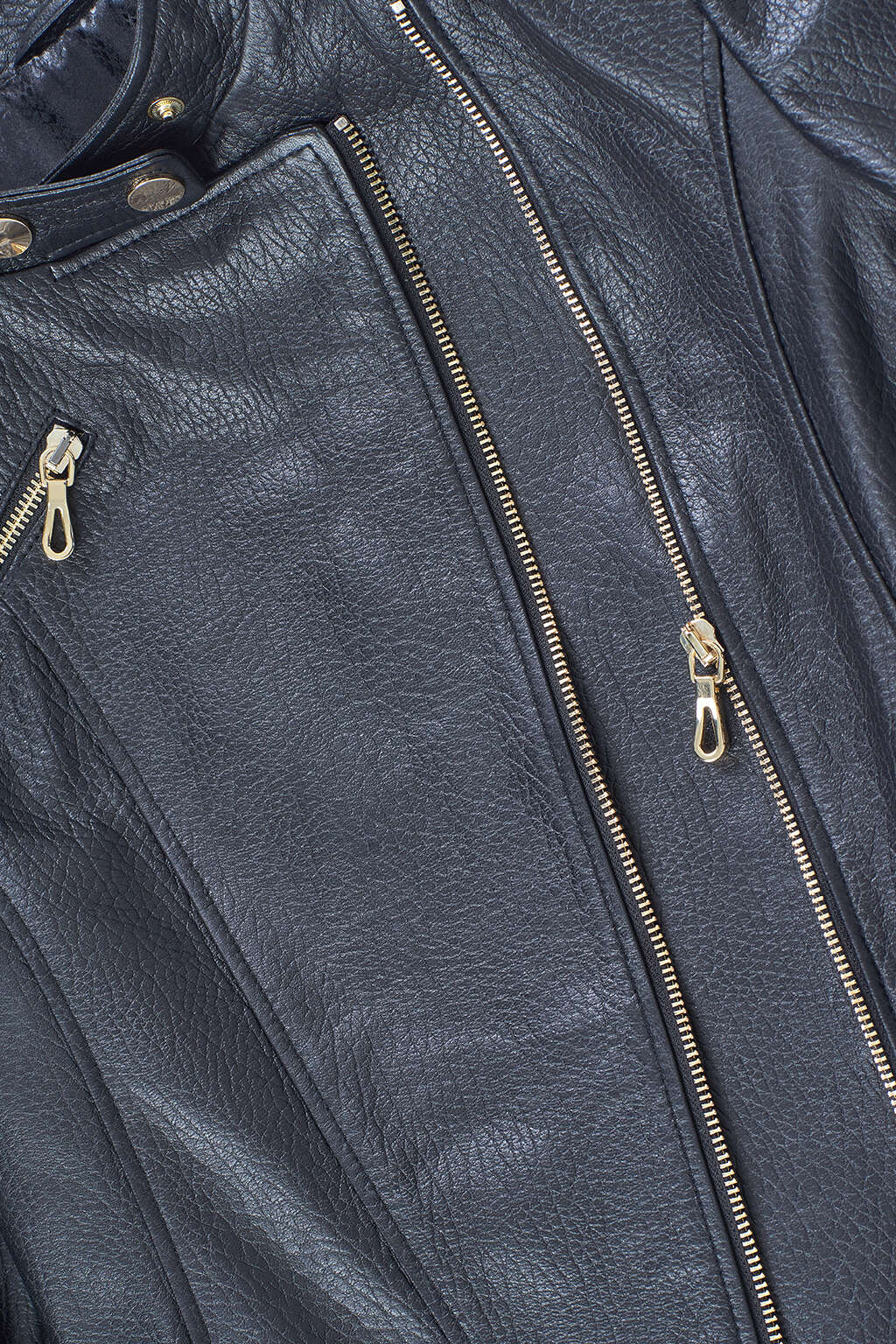 Zipper and Fabric Detail of Black Asymmetrical Biker Leather Jacket