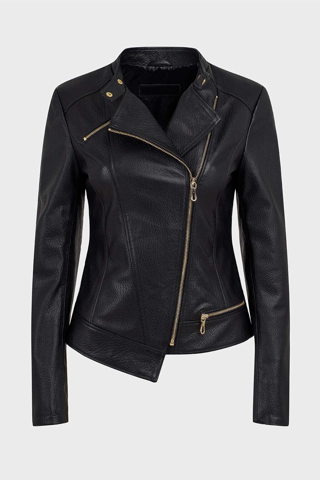 Front of Black Asymmetrical Biker Leather Jacket