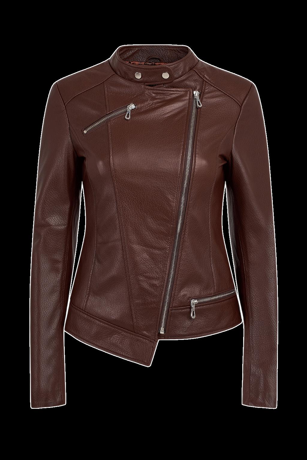 Women's Asymmetric Leather Jacket - Brown