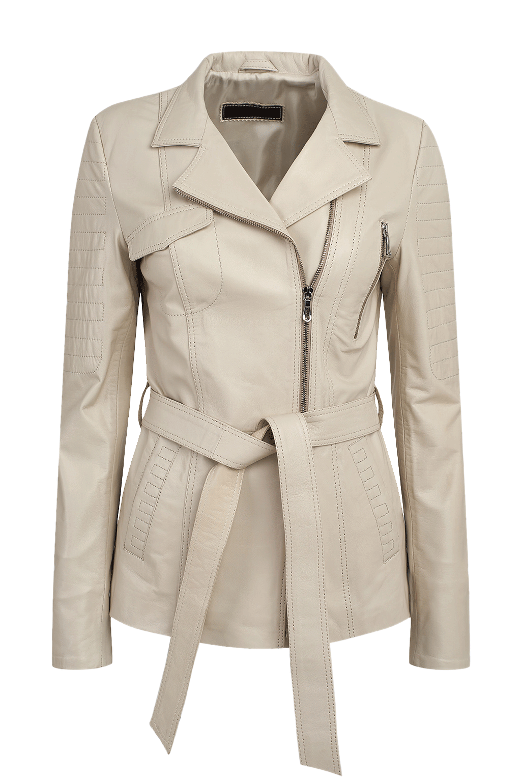 Women's Long Leather Jacket - White