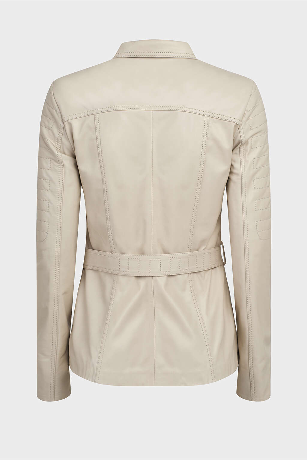 Back of Pearl White Belted Leather Jacket