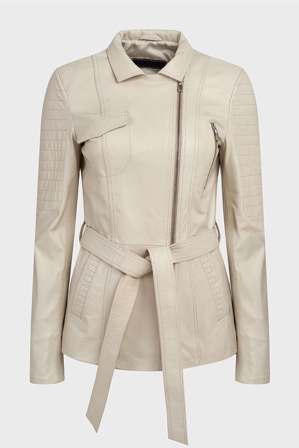 Front of Pearl White Belted Leather Jacket