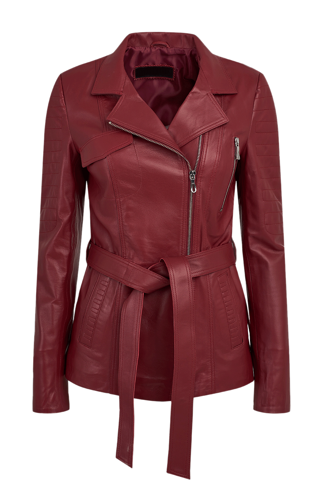 Women's Long Leather Jacket - Red