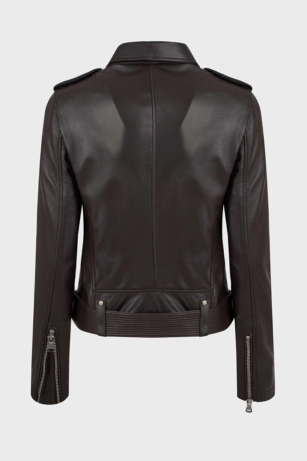 Back of Matte Black Leather Biker Jacket with Buckle