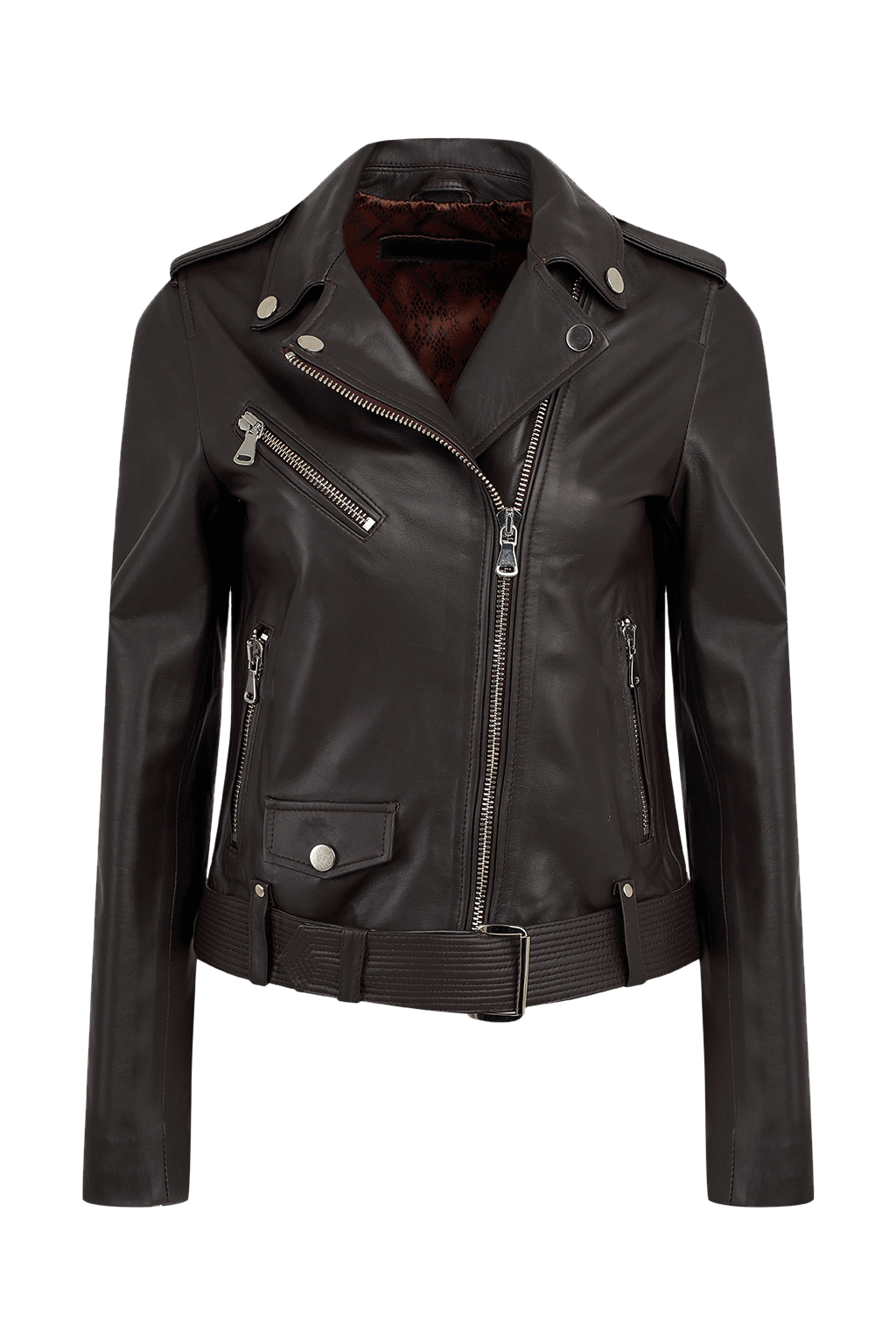 Leather Biker Jacket with Buckle