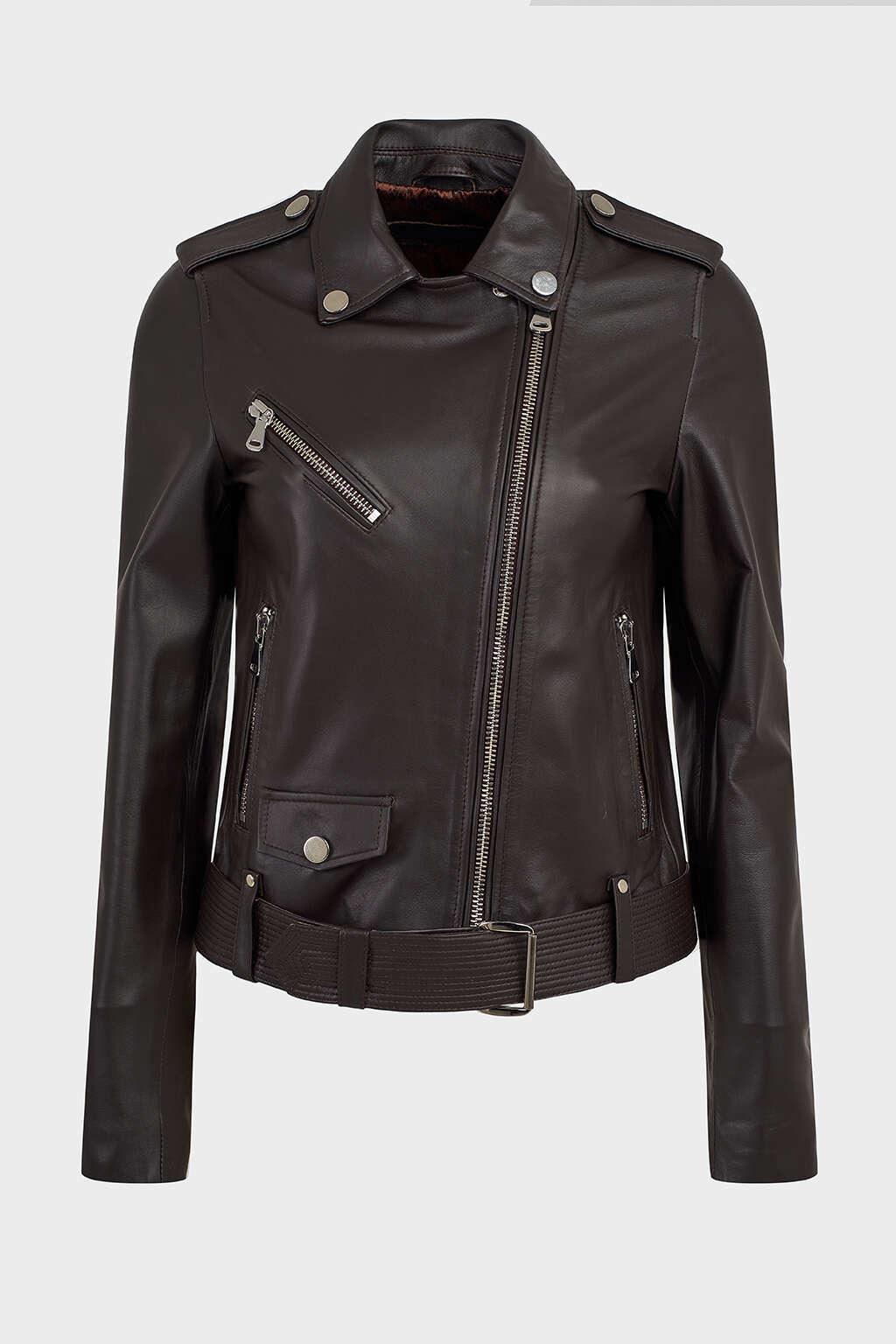 Front of Matte Black Leather Biker Jacket with Buckle
