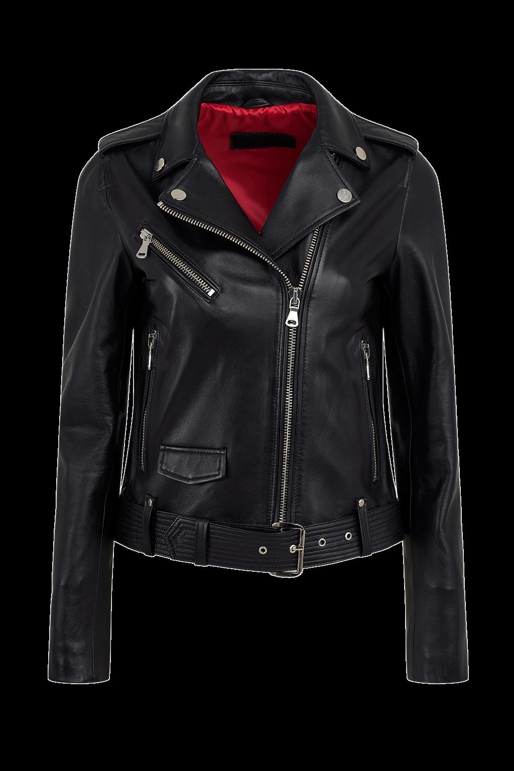 Women's Double Rider Leather Jacket - Jet Black