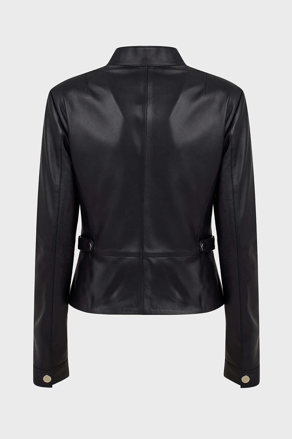 Back of Jet Black Leather Moto Jacket