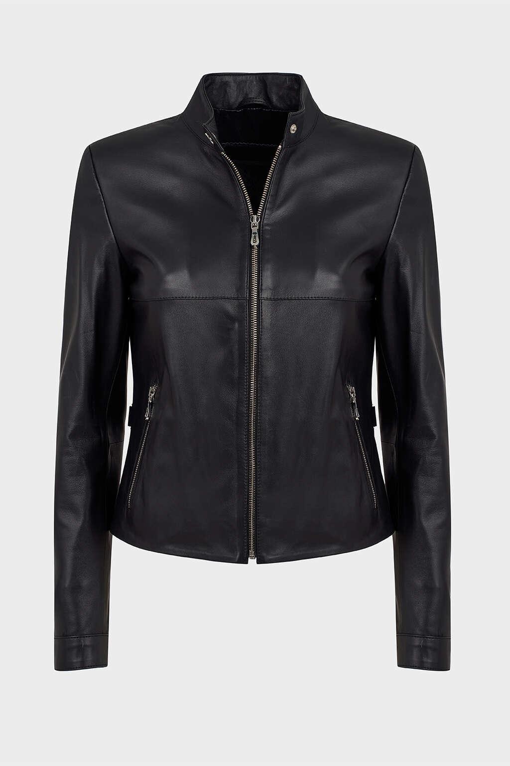 Front of Jet Black Leather Moto Jacket