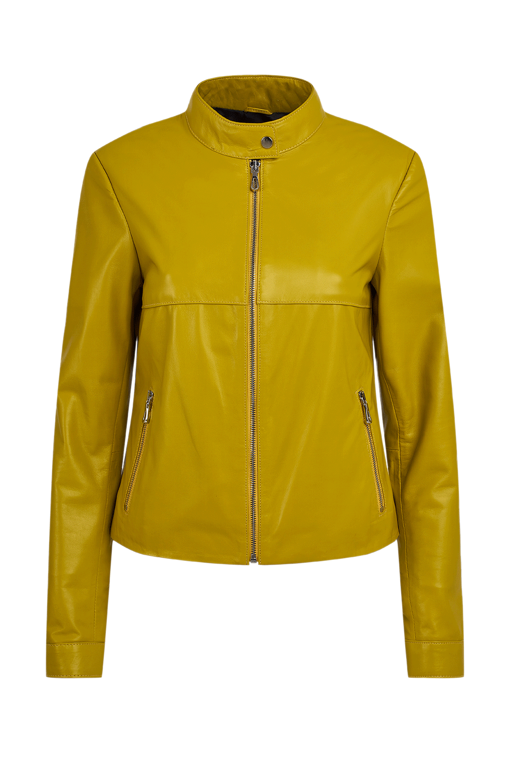 Women's Petite Leather Jacket - Yellow