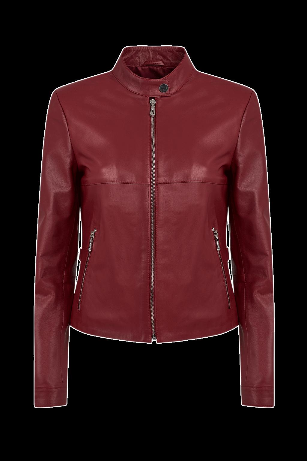 Women's Petite Leather Jacket - Dark Red