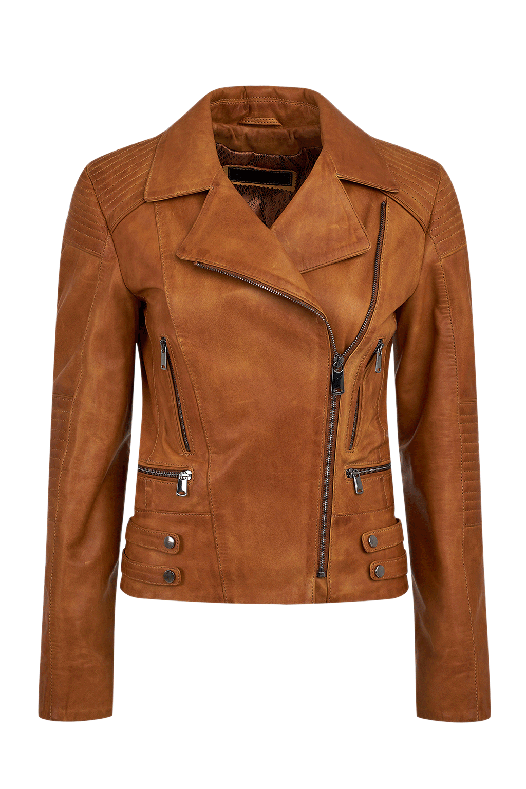 Women's Leather Motorcycle Jacket - Brown