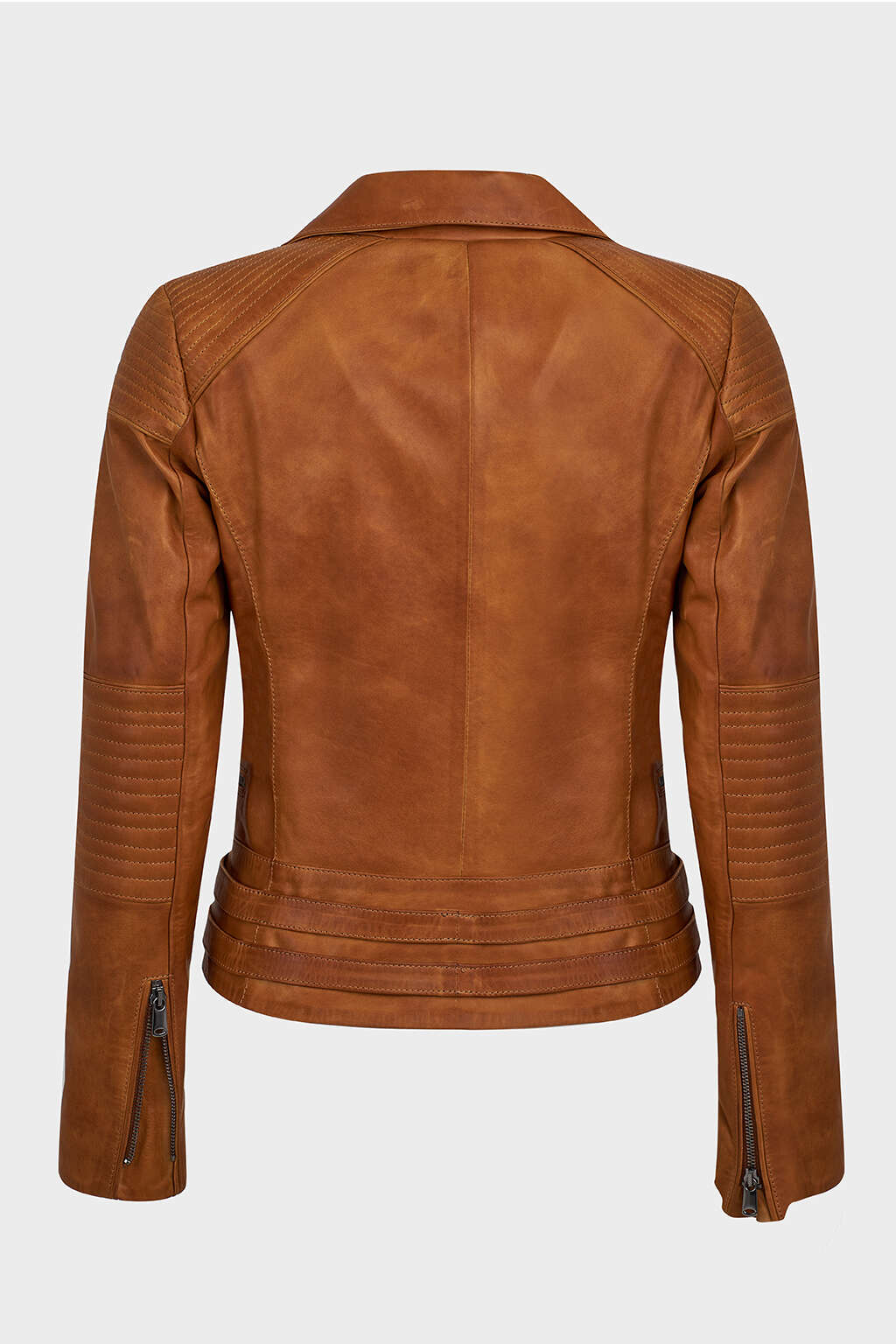 Back of Tawny Brown Classic Biker Leather Jacket