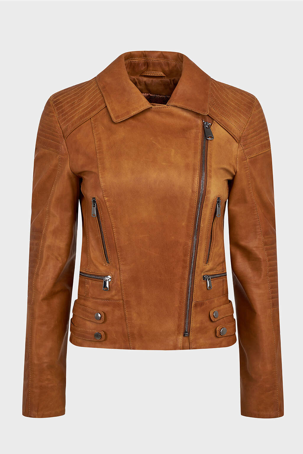 Front of Tawny Brown Classic Biker Leather Jacket