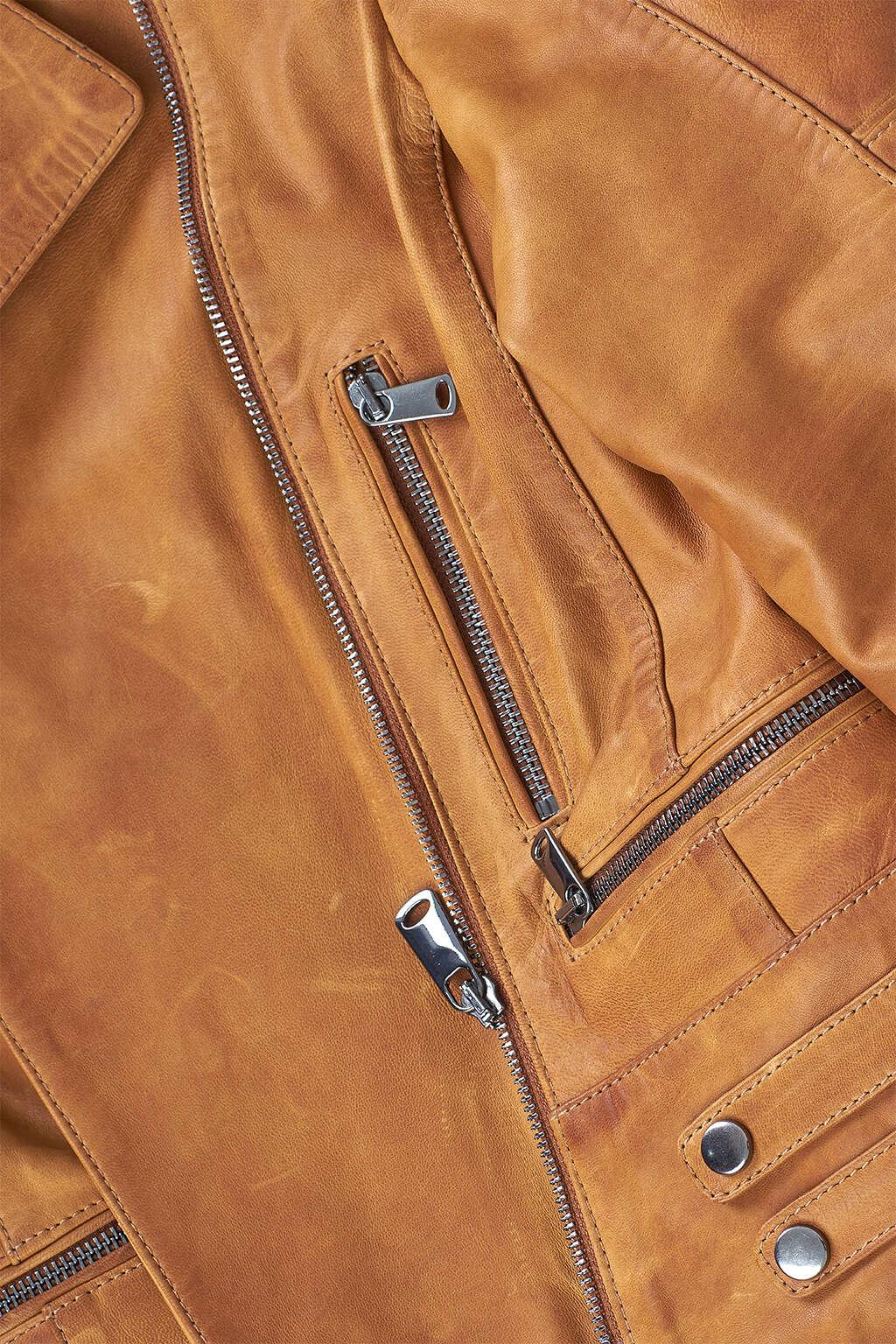Zipper Detail of Tawny Brown Classic Biker Leather Jacket