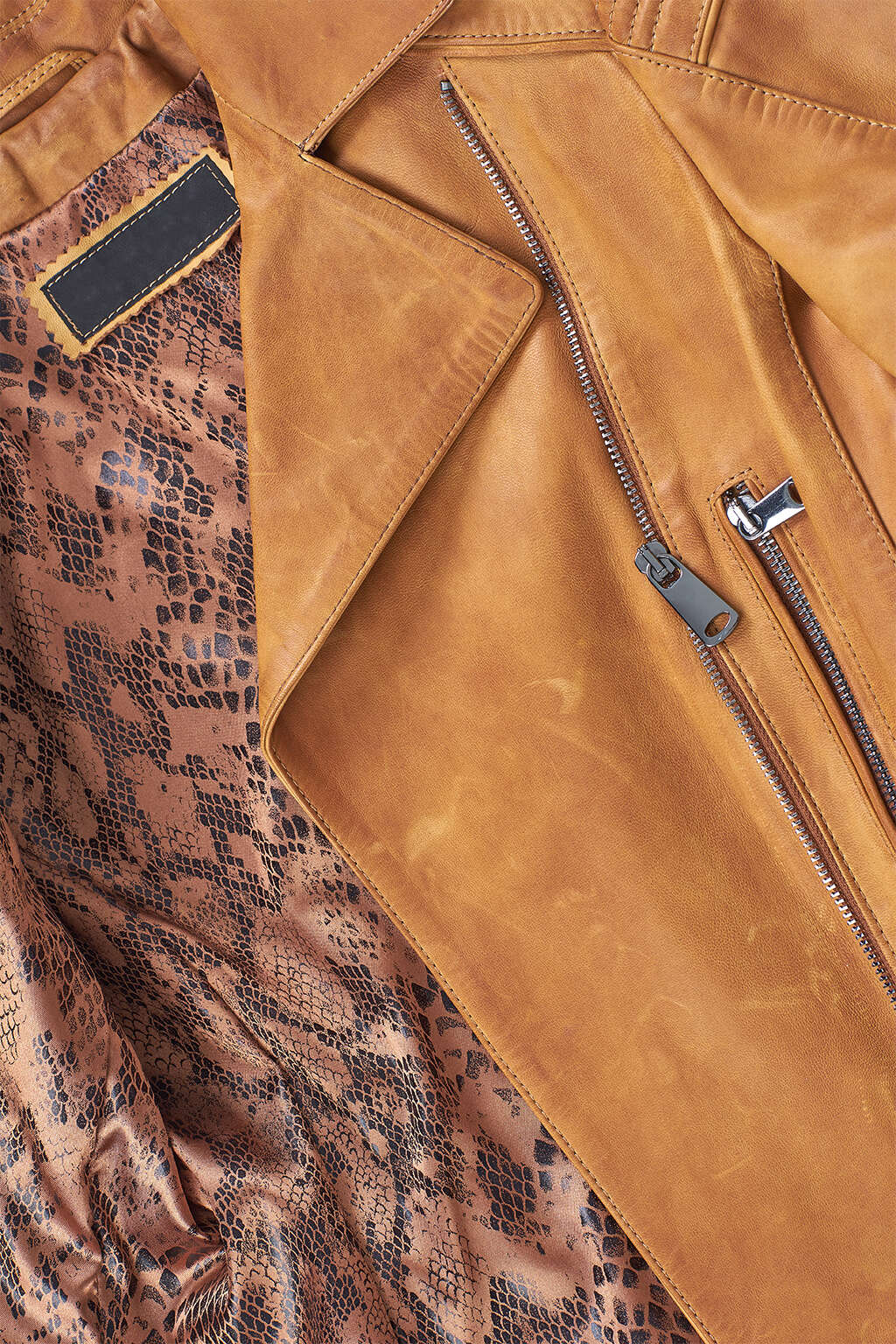 Zipper and Inner Lining Detail of Tawny Brown Classic Biker Leather Jacket