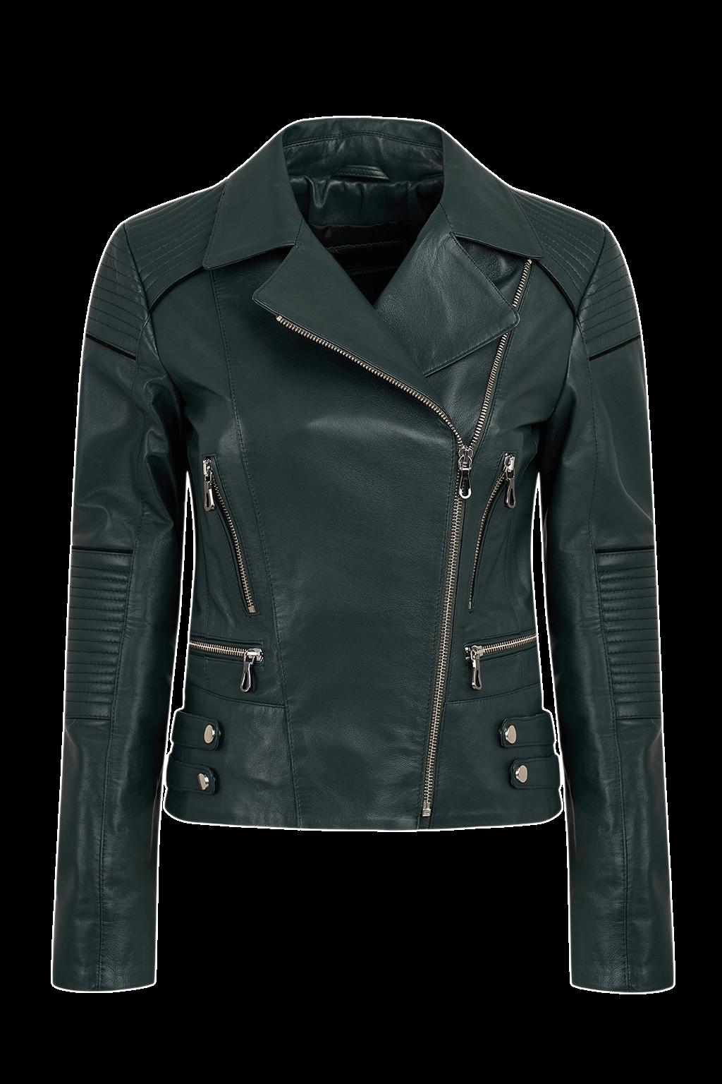 Women's Leather Motorcycle Jacket - Dark Green