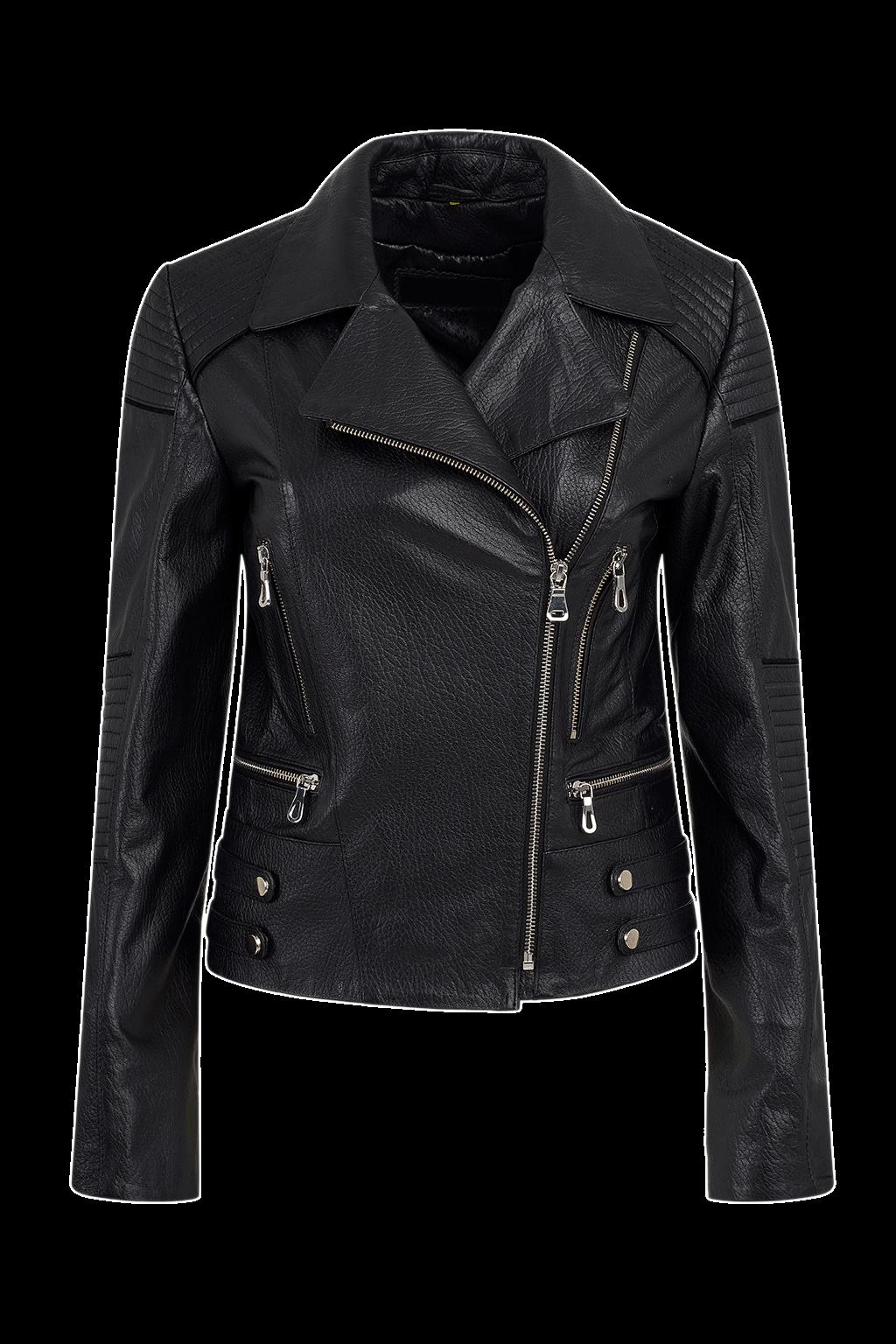 Women's Leather Motorcycle Jacket - Black