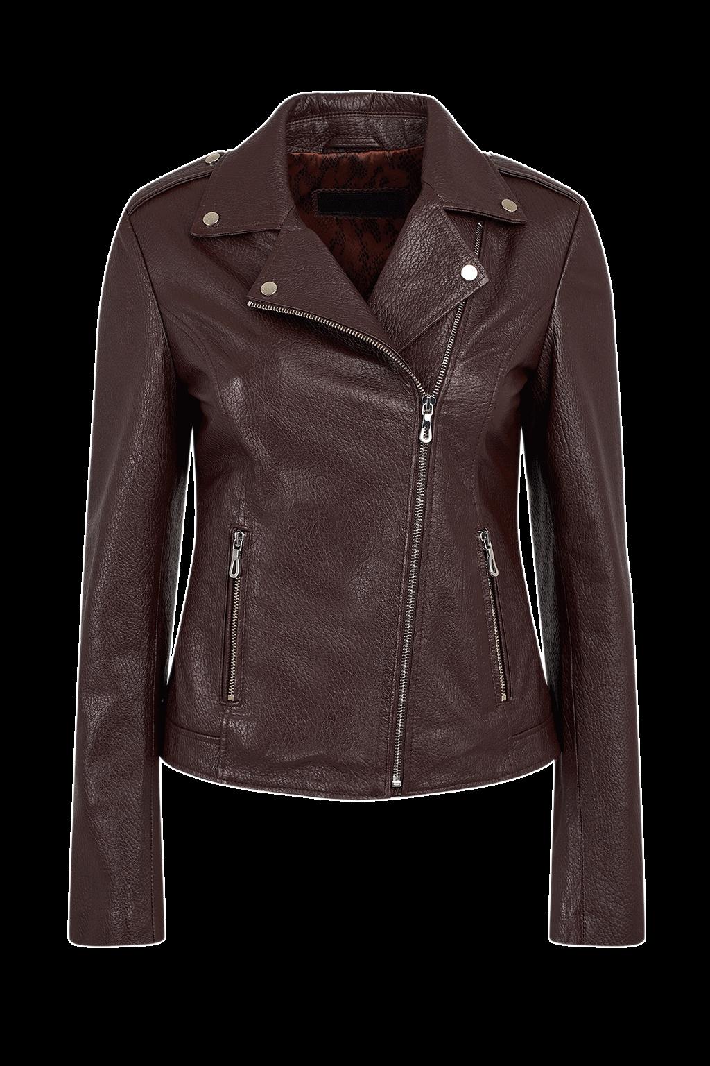 Women's Classic Biker Jacket - Maroon