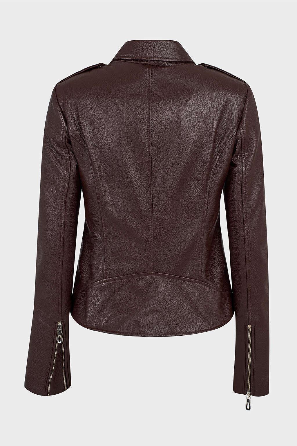 Back of Brown Detailed Collar Biker Leather Jacket