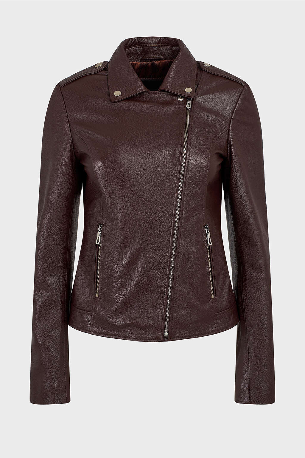 Front of Brown Detailed Collar Biker Leather Jacket