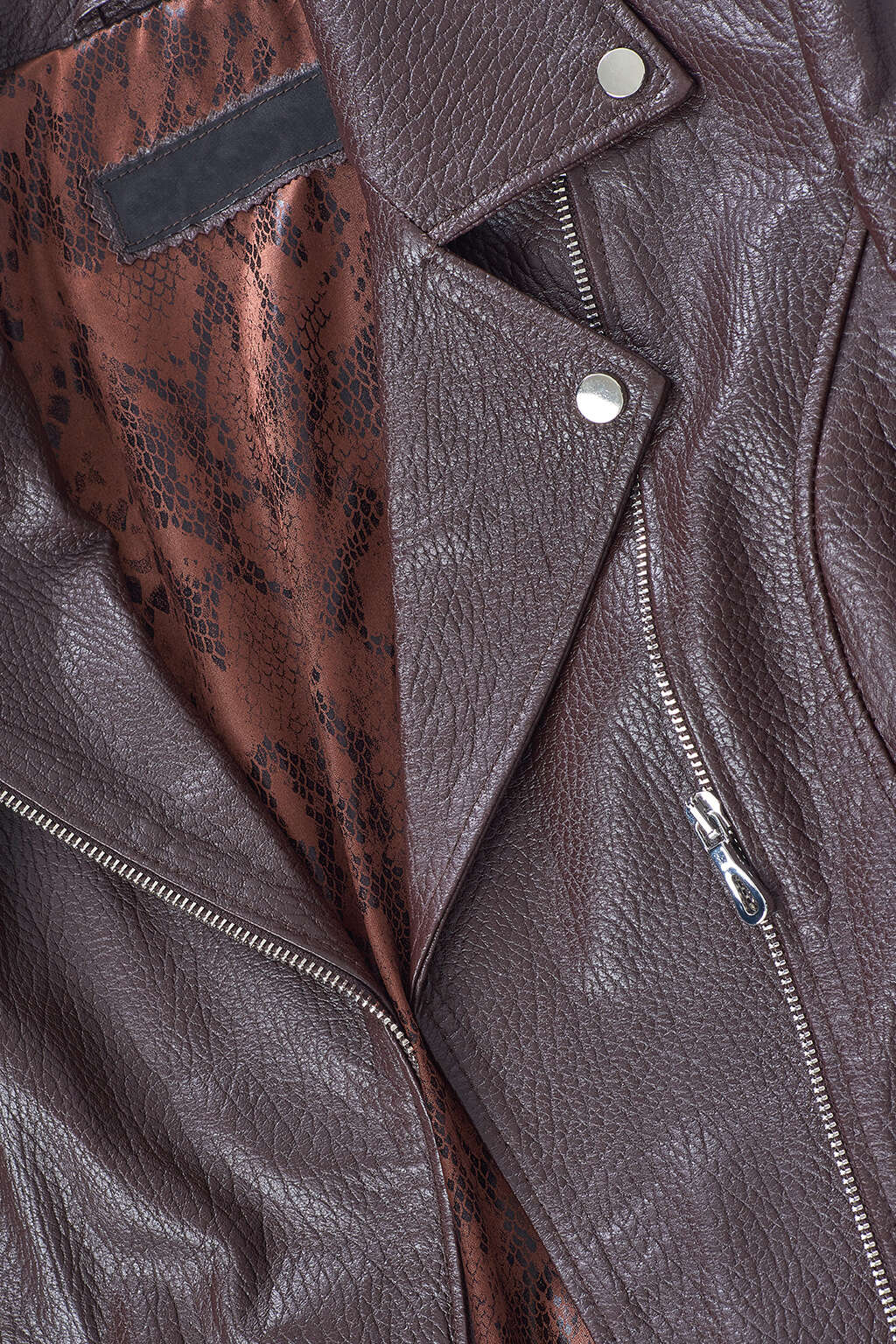 Collar and Inner Lining Detail of Brown Detailed Collar Biker Leather Jacket