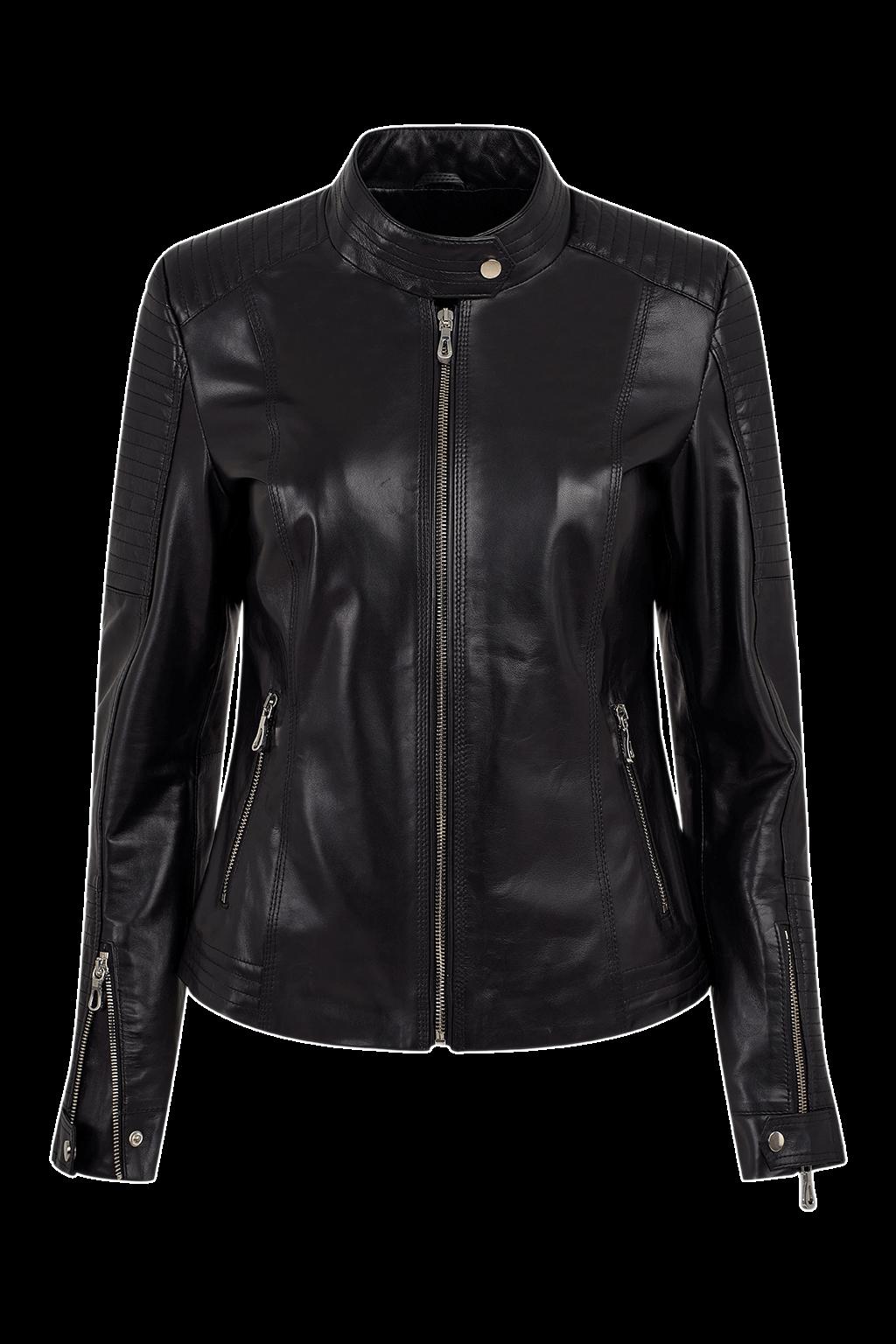 Ribbed Biker Leather Jacket