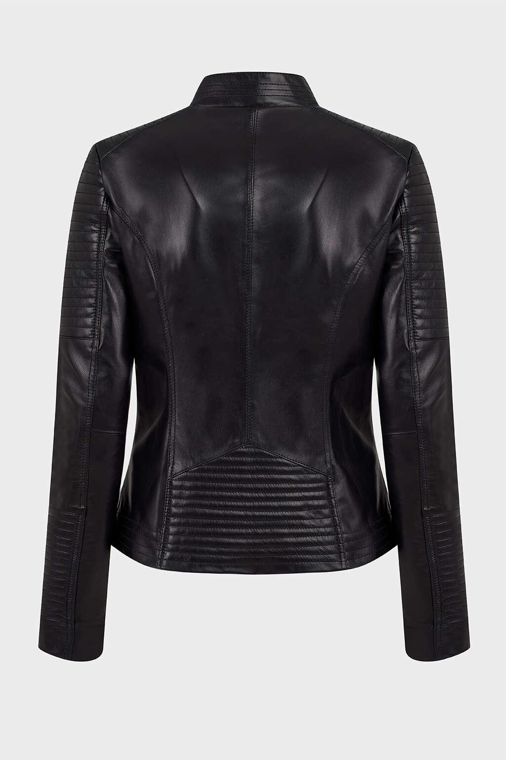 Back of Jet Black Ribbed Biker Leather Jacket