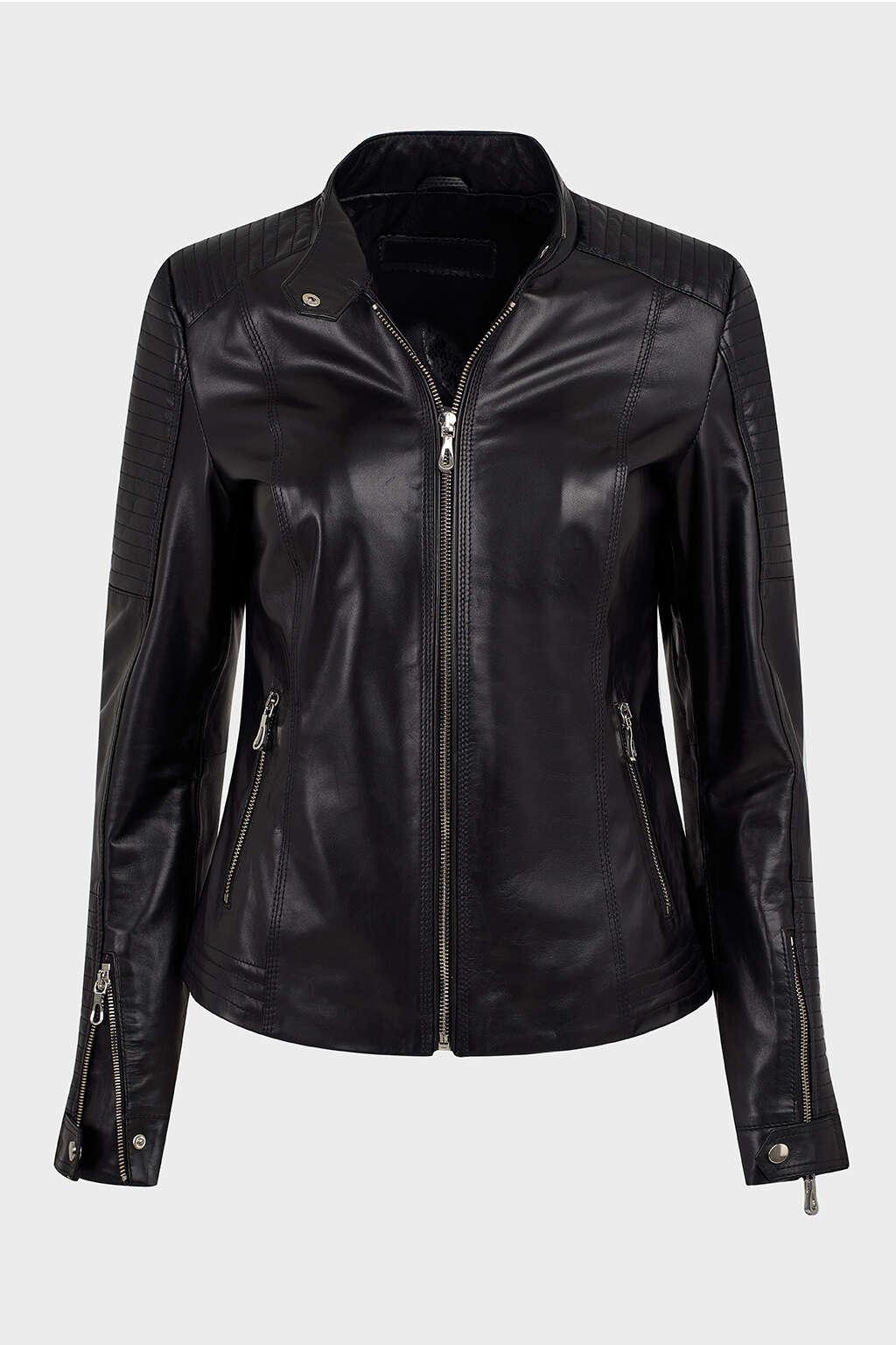 Front of Jet Black Ribbed Biker Leather Jacket