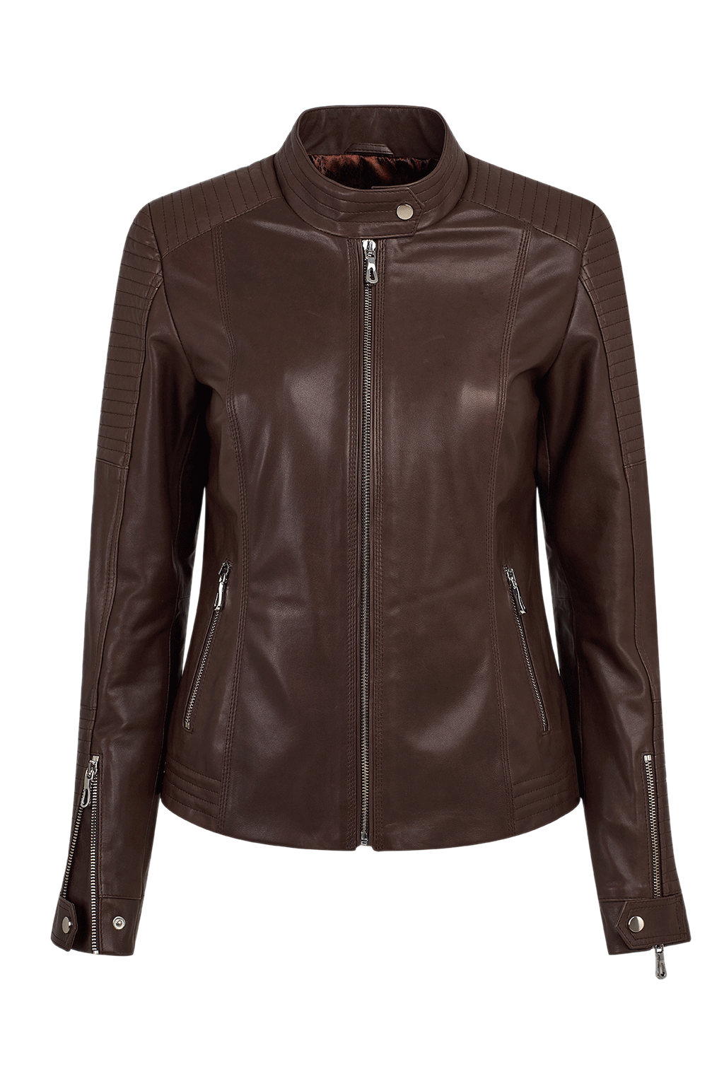 Women's Quilted Leather Jacket - Dark Brown