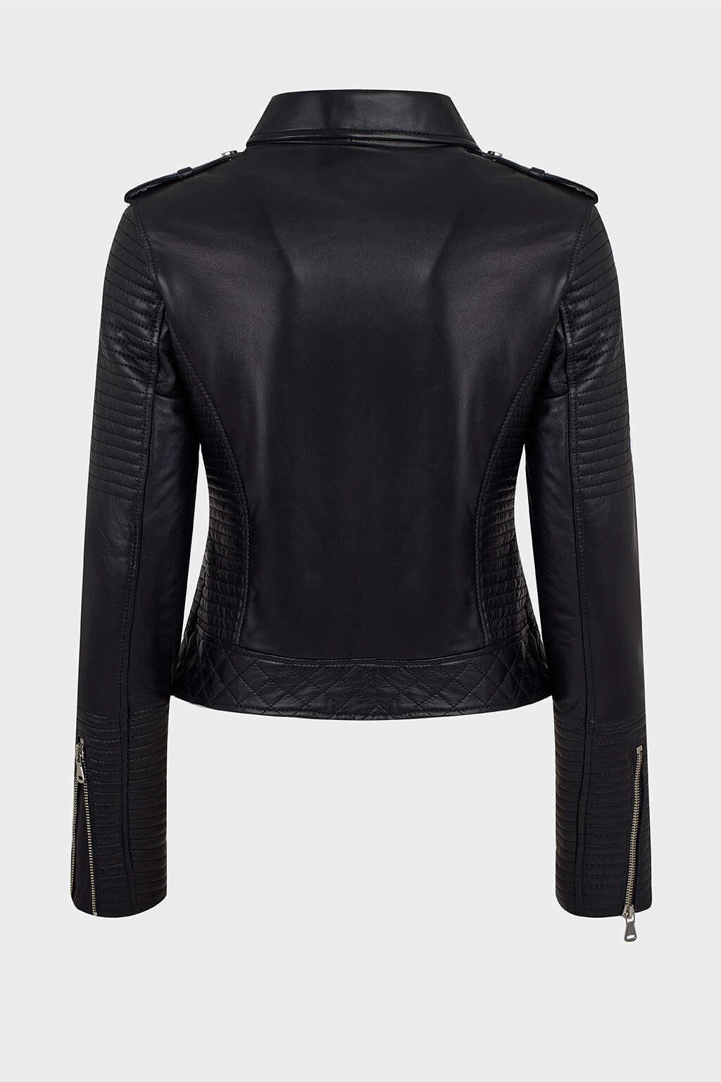 Back of Jet Black Ribbed Moto Leather Jacket