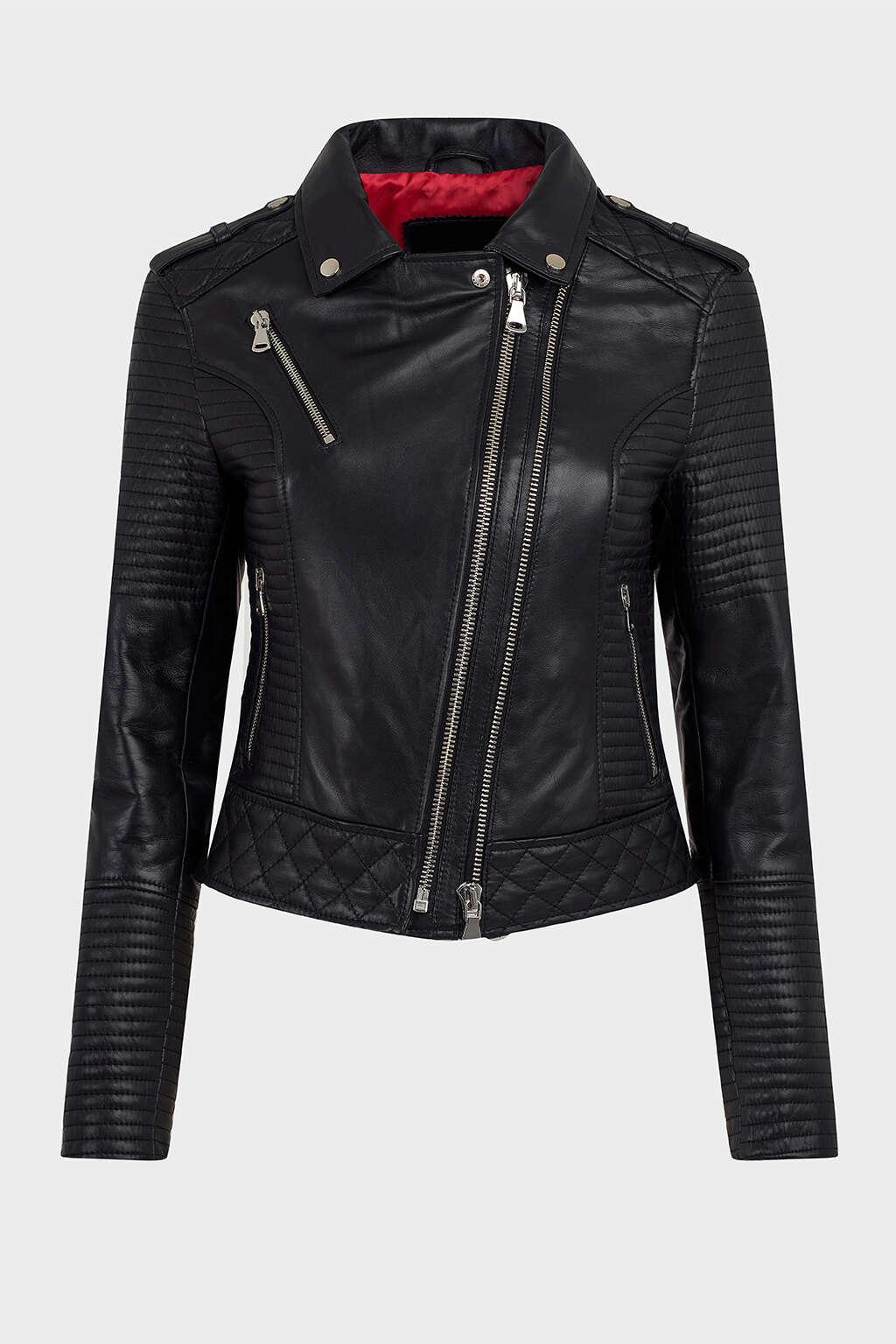 Front of Jet Black Ribbed Moto Leather Jacket