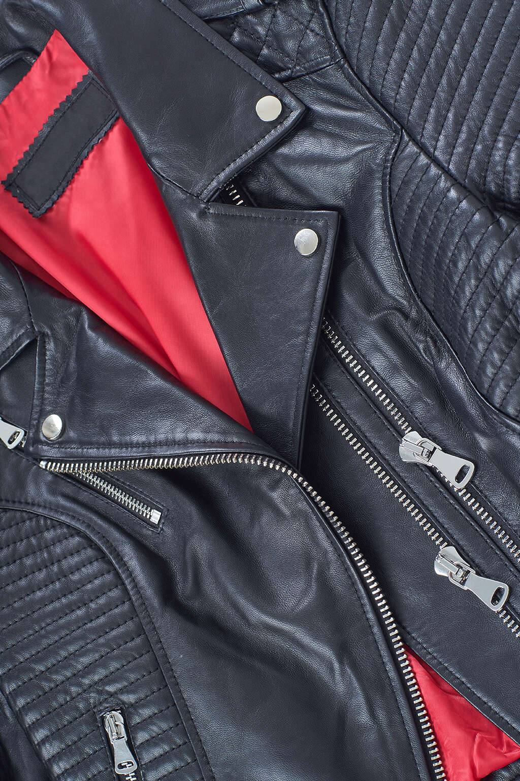 Double Zipper and Collar Detail of Jet Black Ribbed Moto Leather Jacket