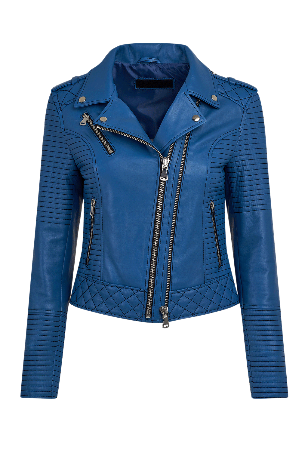 Women's Quilted Leather Moto Jacket - Blue