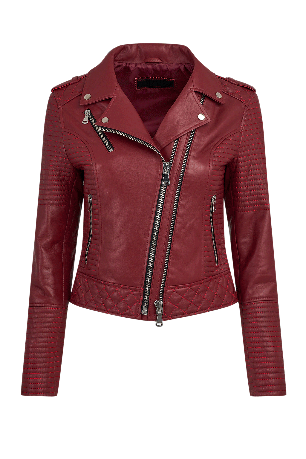 Women's Quilted Leather Moto Jacket - Red