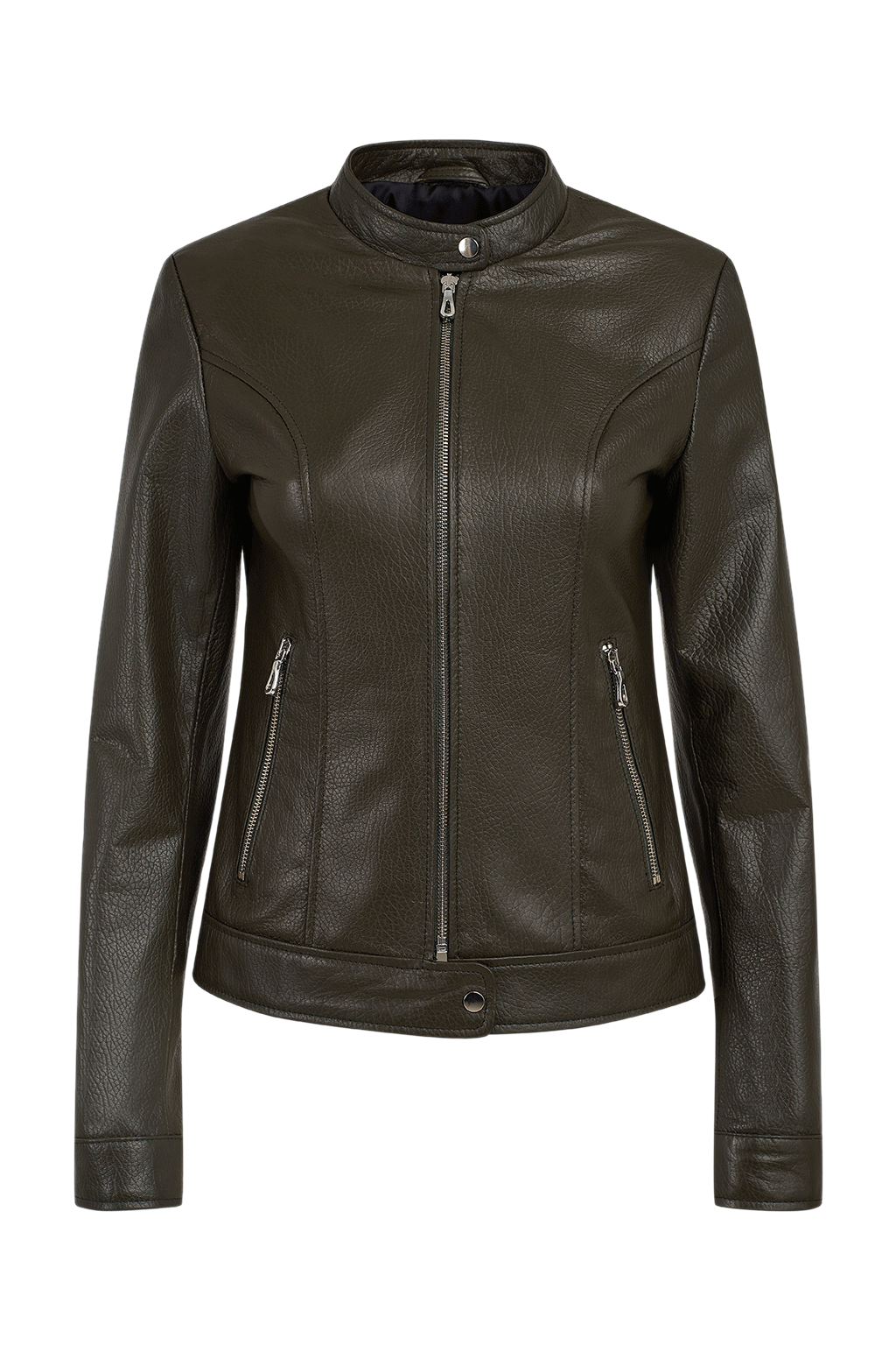 Women's Classic Leather Jacket - Olive Green