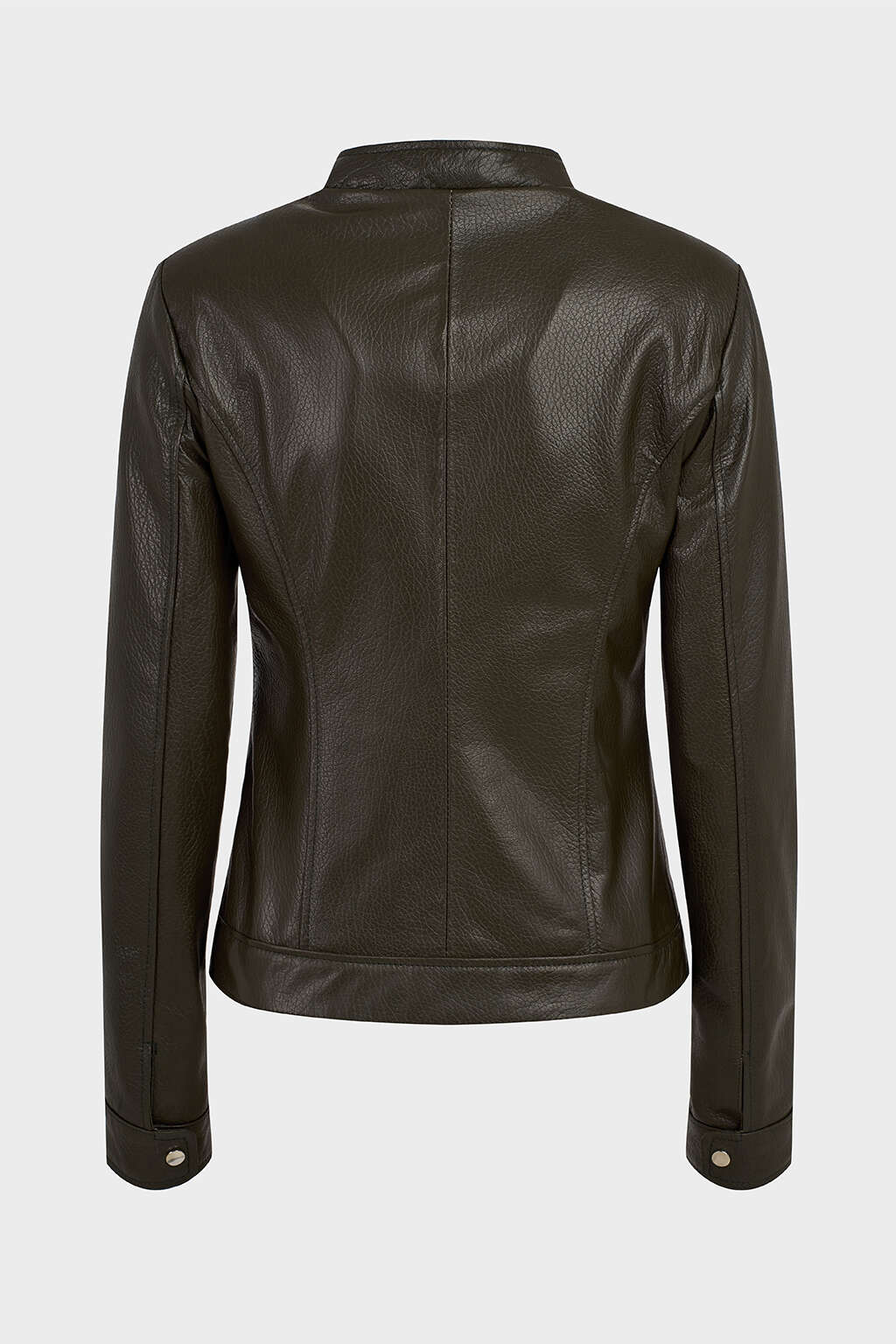 Back of Deep Olive Green Classic High-Collared Leather Jacket